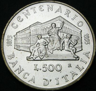 ITALY 500 Lire 1993R - Silver - Bank of Italy Anniversary - aUNC - 1678 ¤