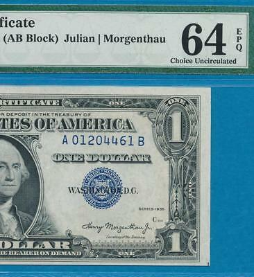 $1.00 1935 [Ab]  Experimental Silver Certificate  Choice Pmg New 64Epq