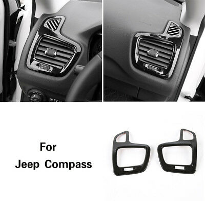2x ABS Dashboard Side Air Condition Vent Cover Ring Trim For Jeep Compass 2017