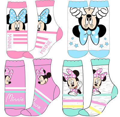 Girls Minnie Mouse Socks - Pack of 4