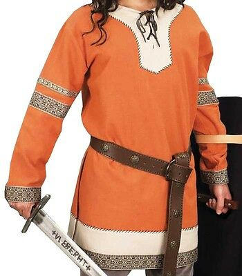 Viking Nobles Orange Tunic, Dark Ages, Cosplay, LARP, Roleplay, Saxon, Skyrim