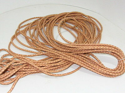"Leather braided bolo cord.... 5 yards of natural color.....5mm size (1/5"")  v580"