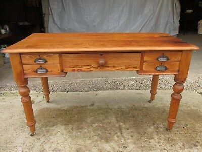Victorian pitch pine writing library desk with 5 drawers (ref 588)