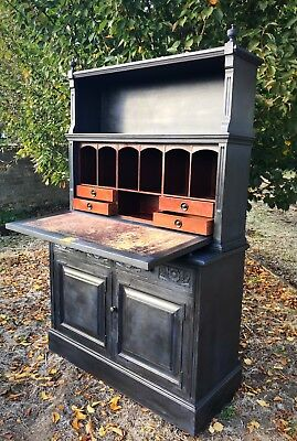 Antique Bureau Secretaire Writing Desk Drawers Dresser Bookcase Office Cupboard