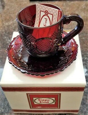 Avon 1876 Cape Cod Ruby Red Cup and Saucer Set