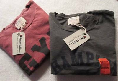 New Mens Champion Vintage Tees Medium Grey Red Athletic Apparel Cotton T-Shirts