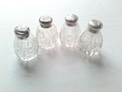 Collectible Salt & Pepper Shakers Glass w Sterling Caps 2 sets (2045)