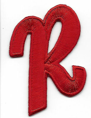 """LETTERS  - Red Script  2"""" Letter """"R"""" - Iron On Embroidered Applique"""