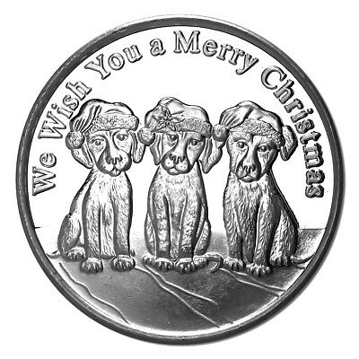 Christmas Puppies 2018 Silver Round X-5