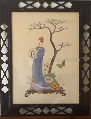 Vintage Antique Asian Art Prints in Original Frames 1936