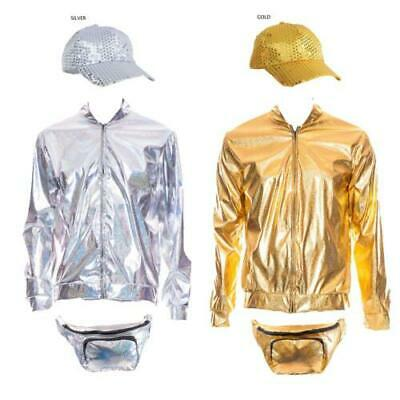80s 90s Metallic RAVE Bomber Jacket Gold Silver Festival Fancy Dress Cap Bumbag