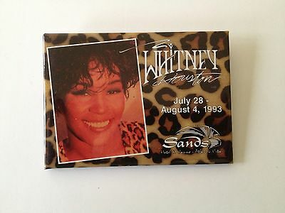 Rare- Sands Casino- Whitney Houston Pinback Button- Atlantic City, New Jersey