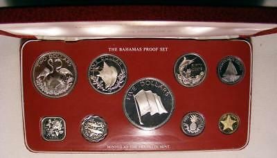 NICE 1976 Bahamas 9 Coin Proof Set With SILVER 50 Cent, $1, $2 And $5 Coins!!