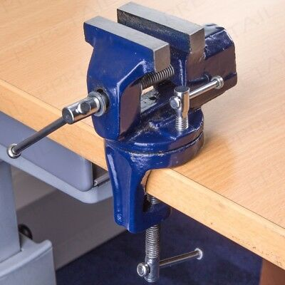 QUALITY 60mm MINI SWIVEL BENCH CLAMP Small Table Top Vice Rotating Base Flat Jaw