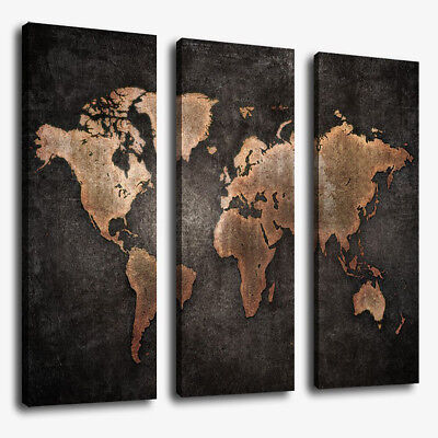 3 Panels Large World Map Modern Canvas Picture Print Wall Art Home Decor WELL /