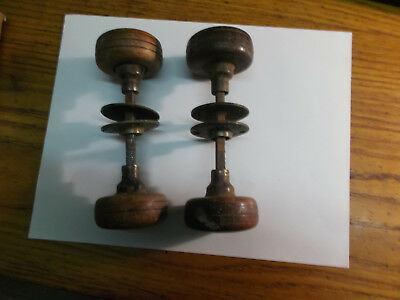 Antique Wood Door Knobs with Art Deco decoration to Brass Escutcheon Plates