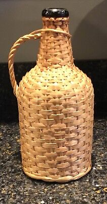 Vintage Amber Wicker Wrapped Red Wine Bottle