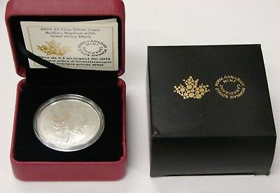 Canada - 2014 - 1 oz. Silver Maple Leaf $5 w/ WMF Privy Mark - w/ Box & COA