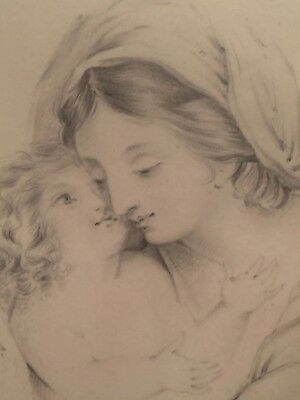 Antique early 19th century drawing, portrait of Virgin and Child