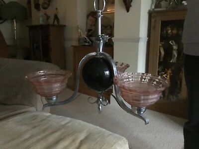 Original Art Deco Pink Frosted Glass Ceiling Light Chandelier