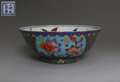 Fine Old Chinese Cloisonne Enamel Porcelain Flower Bowl Chenghua Marked (520)
