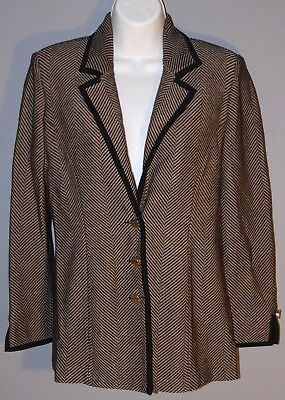 ST. JOHN Collection Size 2 Gold Black Herringbone Blazer Jacket Gold Buttons USA
