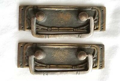 "2 Vtg Antique  Style French Ornate Brass Drawer Handles Pulls 3-1/4""wide #H42"