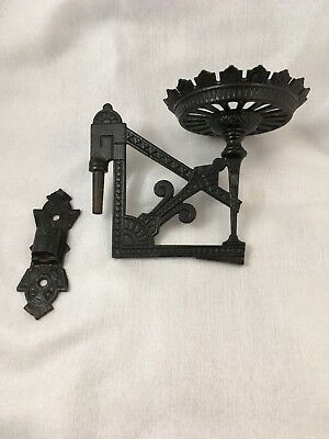 Antique Aesthetic Movement EASTLAKE Cast Iron Oil Lamp Wall Mount SCONCE