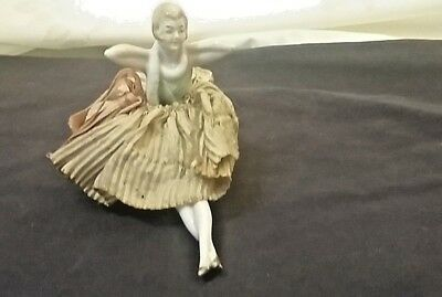 Vintage Antique Porcelain Girl Lady Woman Pin Cushion Sewing Collectible