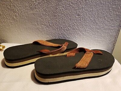Vintage 70s 80s Chunky Striped Beach Thongs Flip Flops Sandals 7.5-8.5 W