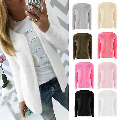 Women Long Sleeve Winter Fluffy Cardigan Sweater Casual Outwear Coat Jacket Tops