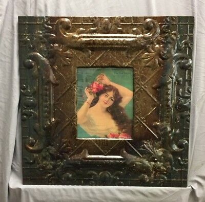 Antique Repurposed TIN CEILING Metal 8X10 Rust Picture Frame Recycled 373-18C