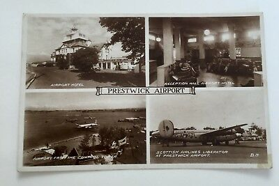 Prestwick Airport * Scotland 1940s * Real Photographic Multiview * Excellent Con