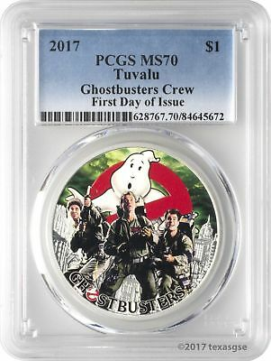 2017 $1 Tuvalu Ghostbusters Crew .9999 Silver Coin PCGS MS70 First Day of Issue
