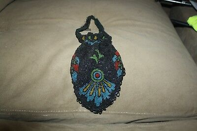 vintage glass beaded draw string purse