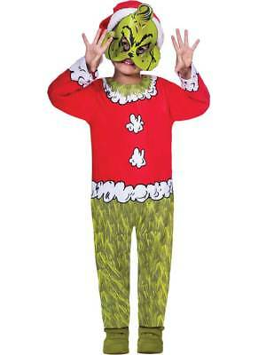 The Grinch Boys Fancy Dress Dr Seuss Christmas Kids Childrens Elf Santa Costume