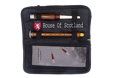 Great Highland Bagpipe Practice Chanter Brown Silver Carrying Case +Tutor Book