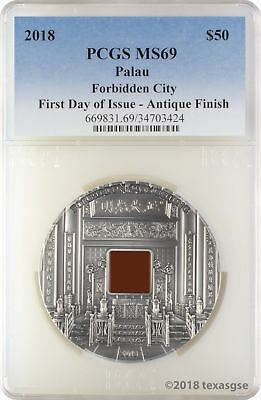 2018 $50 Palau Forbidden City 1 kg .999 Silver PCGS MS69 FD Ultra Low Mintage