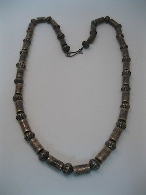 Lot 114 - INCREDIBLE Vintage Navajo Tooled Silver Fluted Bead Necklace w Tubes