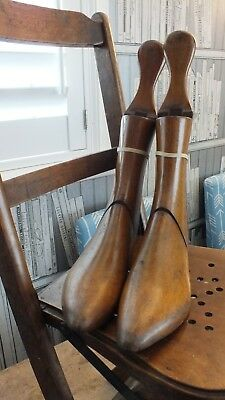 Vintage Old Pair Left & Right of 3 Piece Wooden Shoe Lasts Treen Display