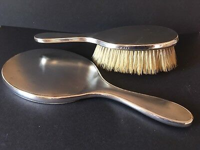 Vintage Sterling Silver Matching Hand mirror And Brush