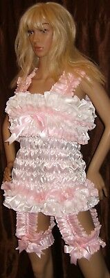 Prissy Sissy Maid Adult Baby CD/TV corset style Suspender Dress with 2 Garters