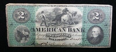1863 $2 The American Bank - Baltimore, MARYLAND Note CIVIL WAR Era Ex Condition