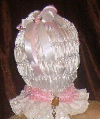 Prissy Sissy Maid Adult Baby CD/TV Mincing Lockable Slave Hood & Padlock