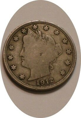 1912 S Liberty V Nickel KEY DATE original Full DETAIL with 7 Letters in LIBERTY