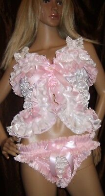 Prissy Sissy Maid Adult Baby CD/TV Baby Pink & White Faux Satin Stretchy Panties