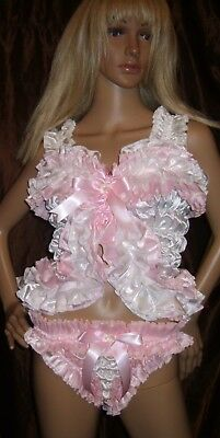 Prissy Sissy Maid Adult Baby CD/TV Faux Satin Elasticated Boob Tube / Bra Top