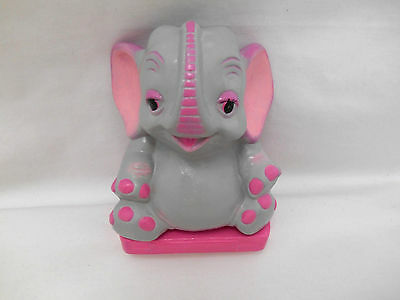 Vintage 60's Ceramic Sitting Pink Elephant Bank Trunk Up Hands On Hips on Base