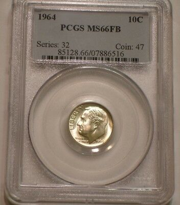 1964 P Roosevelt Dime PCGS MS 66 FB superb GEM BU Full Split Torch Bands