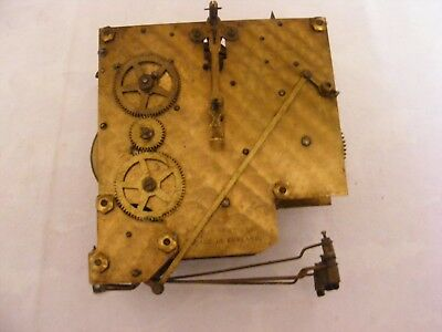 Vintage English Clock Movement Brass Large 421434 Part Spares Striker